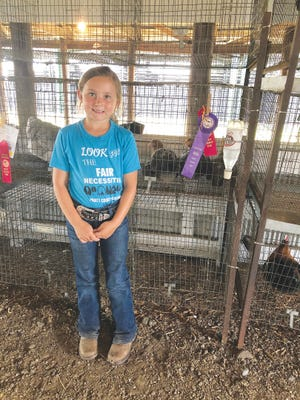 Madilynn Creadick was a champion in poultry at the Pratt County Fair this year.