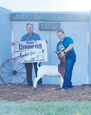 Kami McComb was the Grand Champion goat (above) and sheep exhibitor at the 2020 Pratt County Fair last week.