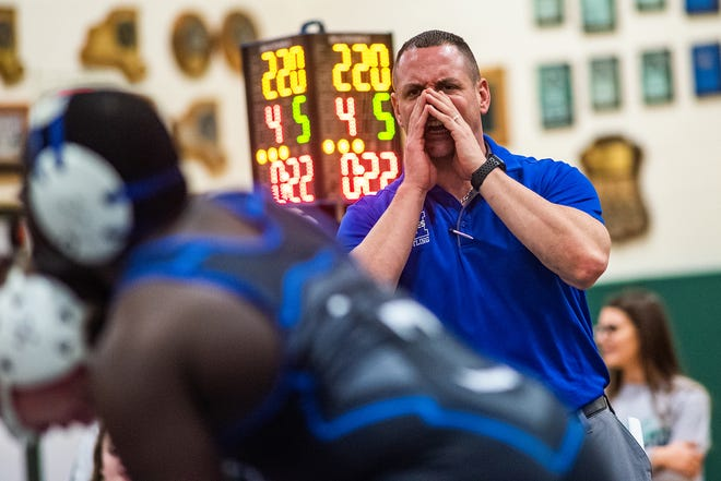 Middletown's Jason Lichtenstein is one of the many Section 9 coaches who wasn't in favor of the state trimming weight classes from 15 to 13. KELLY MARSH/FOR THE TIMES HERALD-RECORD