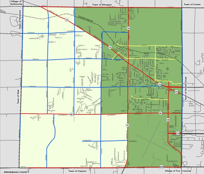 Greenville plans to incorporate the urbanized east half of the town, shown here in dark green, as a village. The rural west half would remain a town, at least temporarily.
