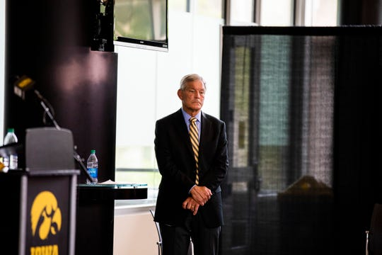 Iowa football caoch Kirk Ferentz listens to questions during a press conference at Carver-Hawkeye Arena on Thursday, July 30, 2020 in Iowa City, Iowa. Ferentz discussed the Husch Blackwell review of the Iowa football program that investigated racial bias against Black players.