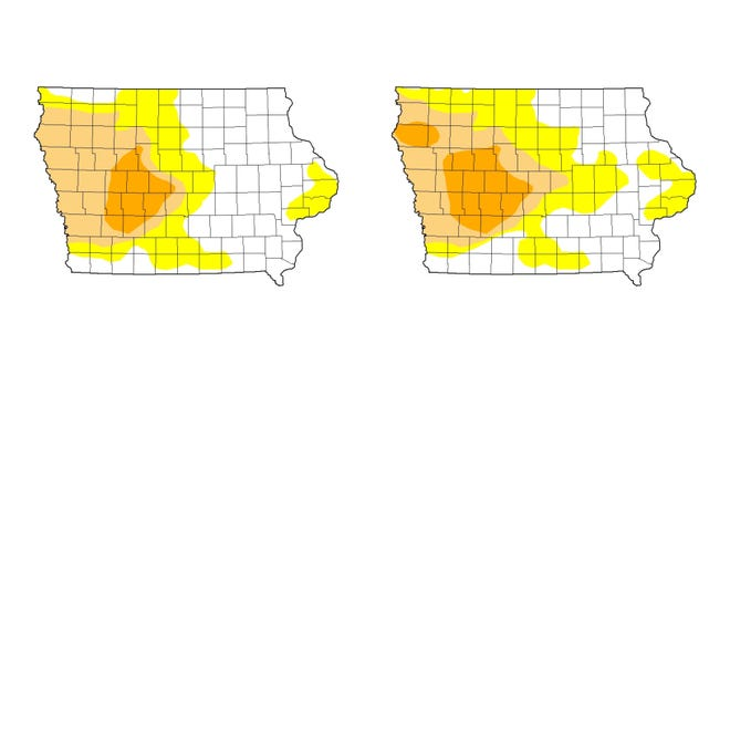 Portions of western Iowa in a severe drought grew between the week ending July 21, left, and the week ending July 28, right. Portions of the Iowa in a moderate drought and abnormally dry also grew.