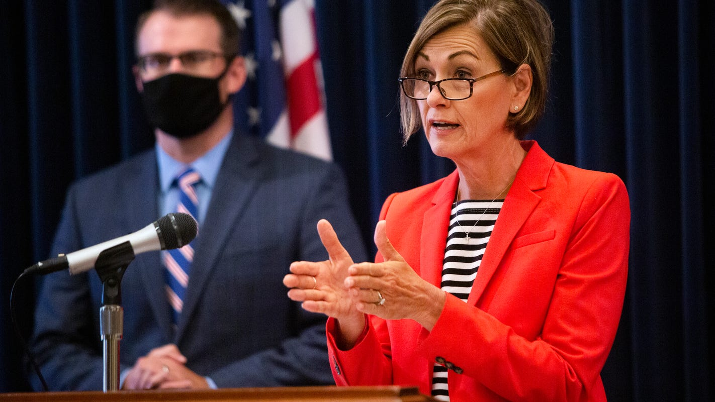 Gov. Kim Reynolds says paying for state salaries with federal coronavirus relief funds is clearly permitted