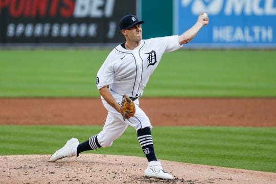 Tigers pitcher Matthew Boyd throws against the Royals during the third inning at Comerica Park on Wednesday, July 29, 2020.
