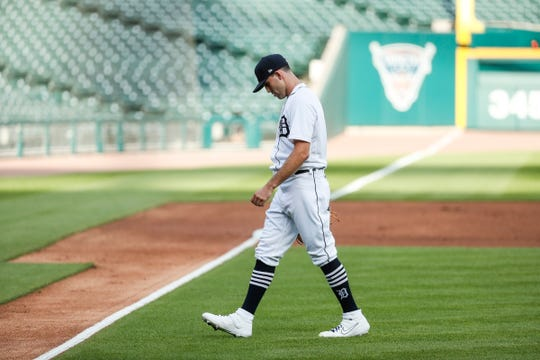 Tigers pitcher Matthew Boyd walks off the field after pitching the first inning against the Royals at Comerica Park on Wednesday, July 29, 2020.