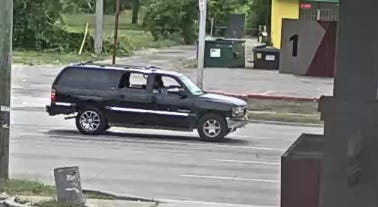 The SUV was filmed near the scene.