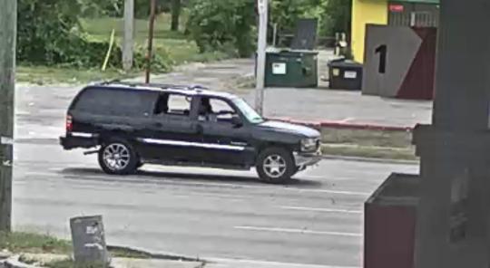The SUV was filmed near the scene.