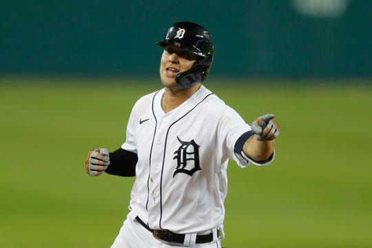 Detroit Tigers' JaCoby Jones rounds the bases after a solo home-run during the seventh inning of a baseball game against the Kansas City Royals, Wednesday, July 29, 2020, in Detroit.