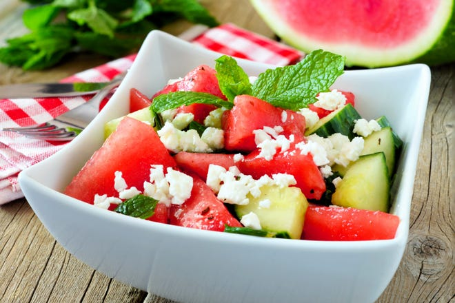 For the perfect light summertime meal or side dish, try a fresh watermelon, feta and mint salad.