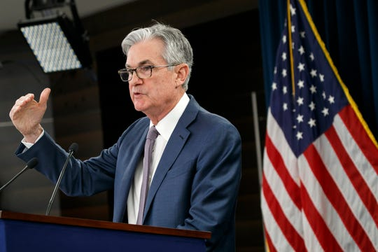 FILE - In this March 3, 2020 file photo, Federal Reserve Chair Jerome Powell speaks during a news conference to discuss an announcement from the Federal Open Market Committee, in Washington.