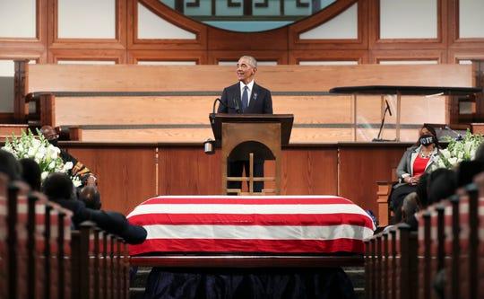 Former President Barack Obama, addresses the service during the funeral for the late Rep. John Lewis, D-Ga., at Ebenezer Baptist Church in Atlanta, Thursday, July 30, 2020.