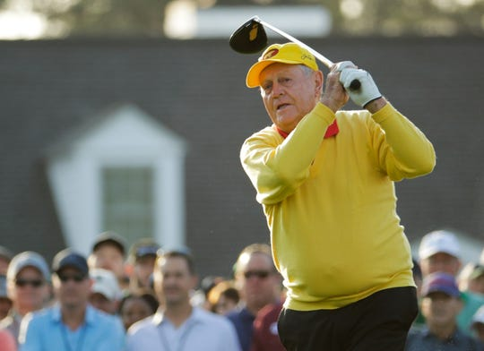 Jack Nicklaus hits the ceremonial first tee shot at the 2019 Masters.