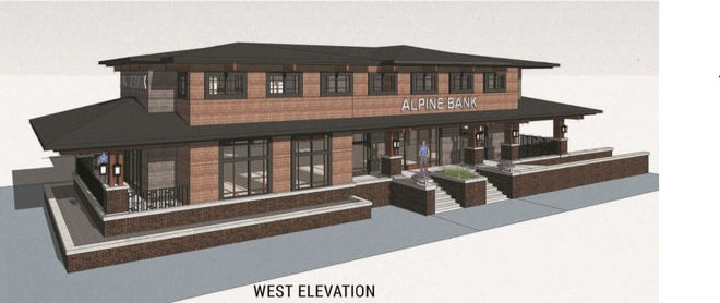 A rendering of what a proposed Alpine Bank would look like on the southeast corner of Prospect Road and College Avenue.