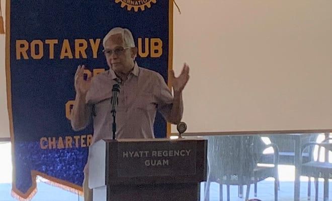 Democratic congressional candidate Robert Underwood addresses the Rotary Club of Guam July 30 at the Hyatt Regency Guam.