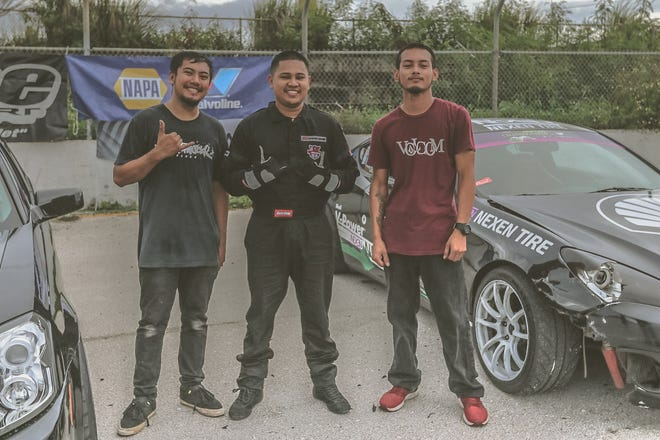 Top finishers of Round 2 of the Proline Drifting Championships, presented by Upshift are, from left, Karl Dumasig in second place, top finisher Rex Deseo and John Respicio in third.