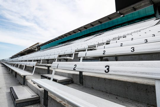 The Indianapolis Motor Speedway sits empty on what is usually race day, Sunday, May 24, 2020. The Indianapolis 500 has been delayed until August due to the COVID19 pandemic.