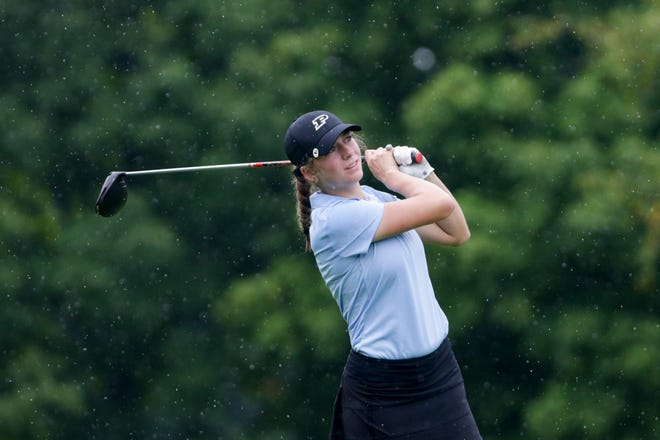 Purdue's Ashley Kozlowski swings on hole 4 during round two of the Golfweek Midwest Collegiate, Thursday, July 30, 2020 at Birck Boilermaker Golf Complex  in West Lafayette.