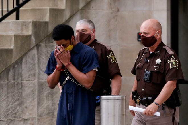 Iyon Marquis Erves is escorted out of the Tippecanoe County Courthouse by sheriff's deputies after being found guilty, Thursday, July 30, 2020 at the Tippecanoe County Courthouse in Lafayette.