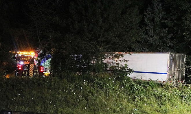 According to the Ohio State Highway Patrol, a semi tipped over onto another vehicle around 11:30 p.m. Wednesday, killing four of the seven people in the other vehicle.