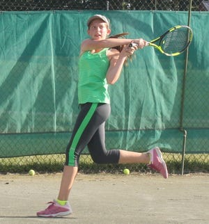 Noel Cline of Bellville won the girls 12 singles title for the second time in three years in the 87th News Journal/Richland Bank Tennis Tournament at Lakewood Racquet Club.