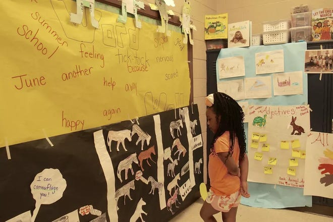 A student shows off an art project during the monthlong Read to be Ready literacy camp held at Cornerstone Prep in Memphis' Frayser neighborhood in 2019.