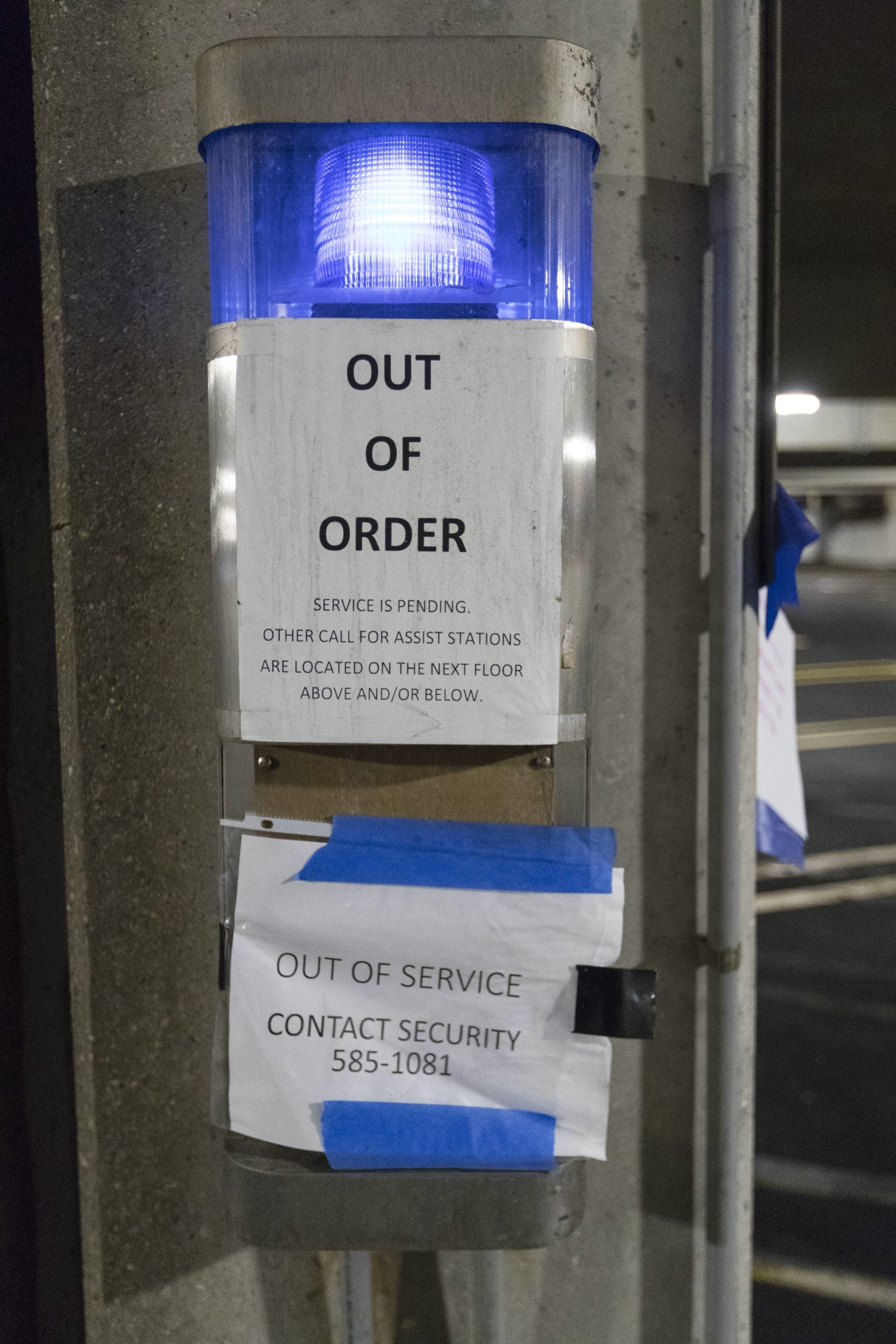 An out of order emergency call box is shown in parking ramp B Monday, May 13, 2019 at Ascension Columbia St. Mary's Hospital Milwaukee in Milwaukee, Wis. The Milwaukee Journal Sentinel enlisted the aid of an architectural security consultant to evaluate parking ramps at five Milwaukee hospitals.