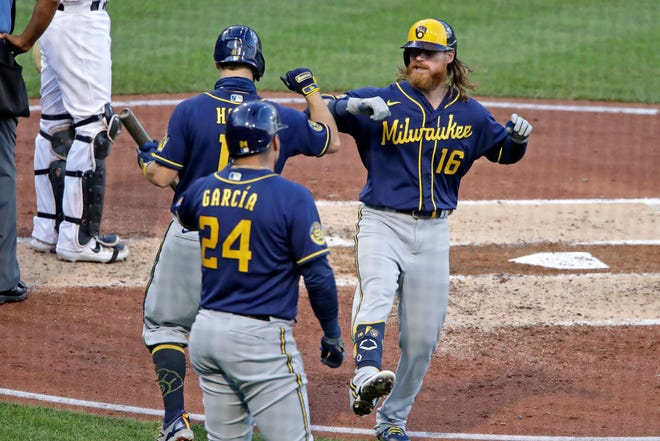 Ben Gamel celebrates his two-run homer against the Pirates on Wednesday with Brock Holt and Avisail Garcia.