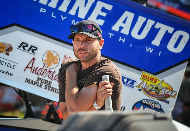 Driver Bill Balog waits for practice before the Rayce Rudeen Foundation sprint-car race Thursday at Plymouth Dirt Track on the Sheboygan County Fairgrounds in Plymouth.