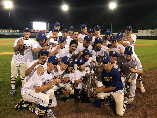 The Cranford baseball team celebrates its victory over the BC Crusaders (Bergen Catholic) in the NJ Last Dance World Series North section final, 10-0 in 6 innings, on Wednesday, July 29, 2020 at Skylands Stadium in Frankford Township.