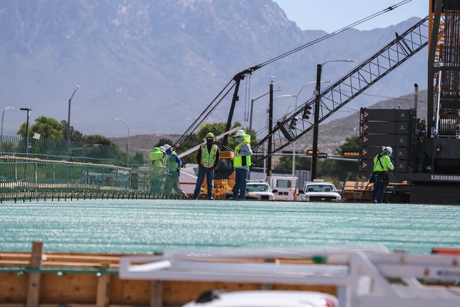 Construction crews continue work on the I-25 at Univerity Avenue in Las Cruces on Thursday, July 30, 2020.