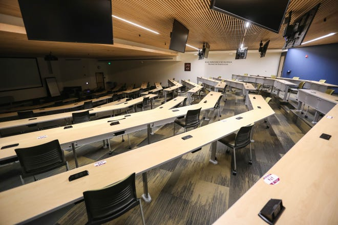 Seats are spread apart to comply with New Mexico State University's COVID-safe practices on the NMSU campus in Las Cruces on Thursday, July 30, 2020.