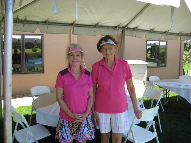 Betty Gentry, and Barbara Poth, two of the winners of the Alto Lakes charity shamble on July 27.