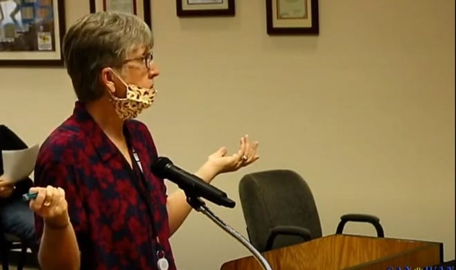 Su Hodgman speaks, Tuesday, July 28, to the San Juan County Commission.