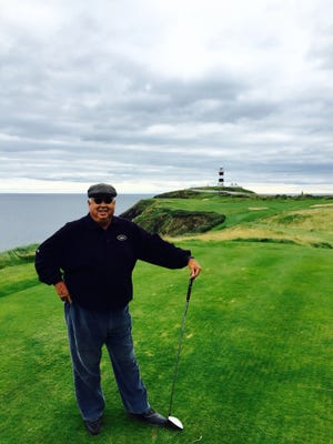 Dan Doom, in a 2015 photo taken at Old Head in Ireland, was a Wickenburg fixture in high school sports for decades. Photo courtesy of Sam Doom