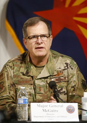 Major General Michael McGuire speaks during a news conference update on COVID-19 at the Arizona Commerce Authority Conference Center in Phoenix on July 30, 2020.