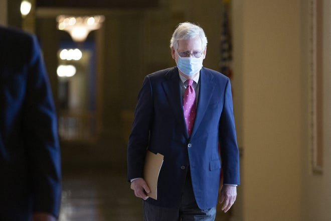 Senate Majority Leader Mitch McConnell (R-KY) walks from his office to the Senate Floor at the United States Capitol on June 29, 2020, in Washington D.C. (Stefani Reynolds/CNP/Abaca Press/TNS)