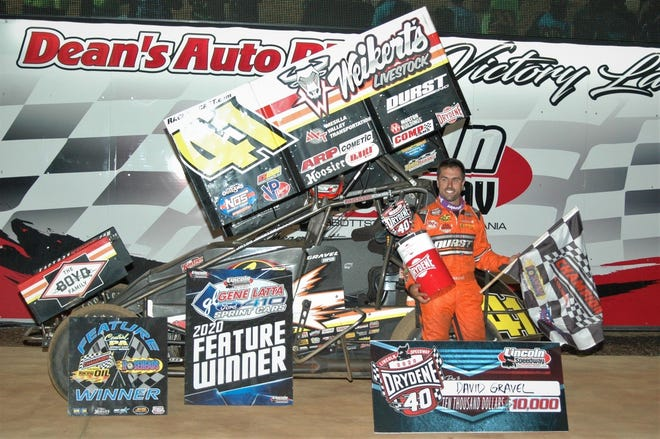David Gravel is shown after winning the Drydene 40 at Lincoln Speedway on Wednesday night.