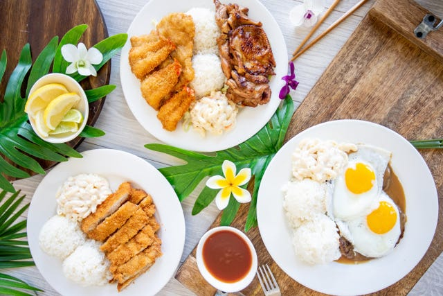 L&L Hawaiian Barbecue loco moco and its plate lunches like chicken katsu, fried shrimp and barbecue chicken travel well for takeout and delivery.