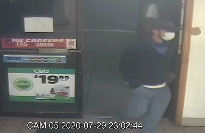 This man is the suspect in the armed robbery Wednesday night of a Village Pantry in Cambridge City. Call the Wayne County Sheriff's Office at 765-973-9393 with any information about the suspect.