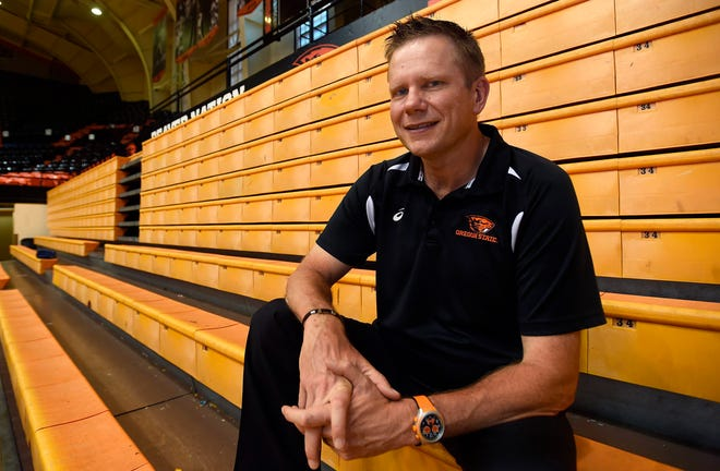 In this undated photo Oregon State University volleyball coach Mark Barnard poses for a photo in Corvallis.