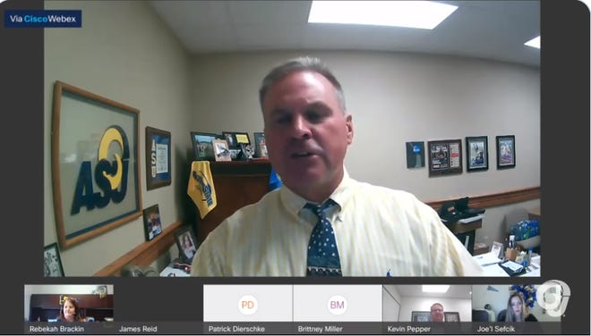This is a screen shot of Angelo State University athletic director James Reid discussing the school's plans for fall sports during a virtual town hall meeting Wednesday, July 29, 2020.