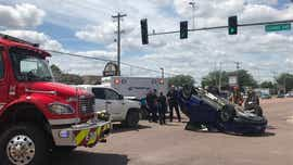 Driver transported to hospital after south-central Sioux Falls rollover