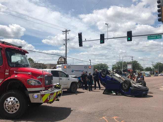 One person was transported to the hospital with non-life threatening injuries Thursday afternoon after a two-vehicle crash and rollover at 41st Street and Grange Avenue.