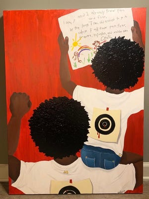 """ We Are Born with Targets on Our Backs,"" by Edith Juanah, an art therapy graduate student and painter."