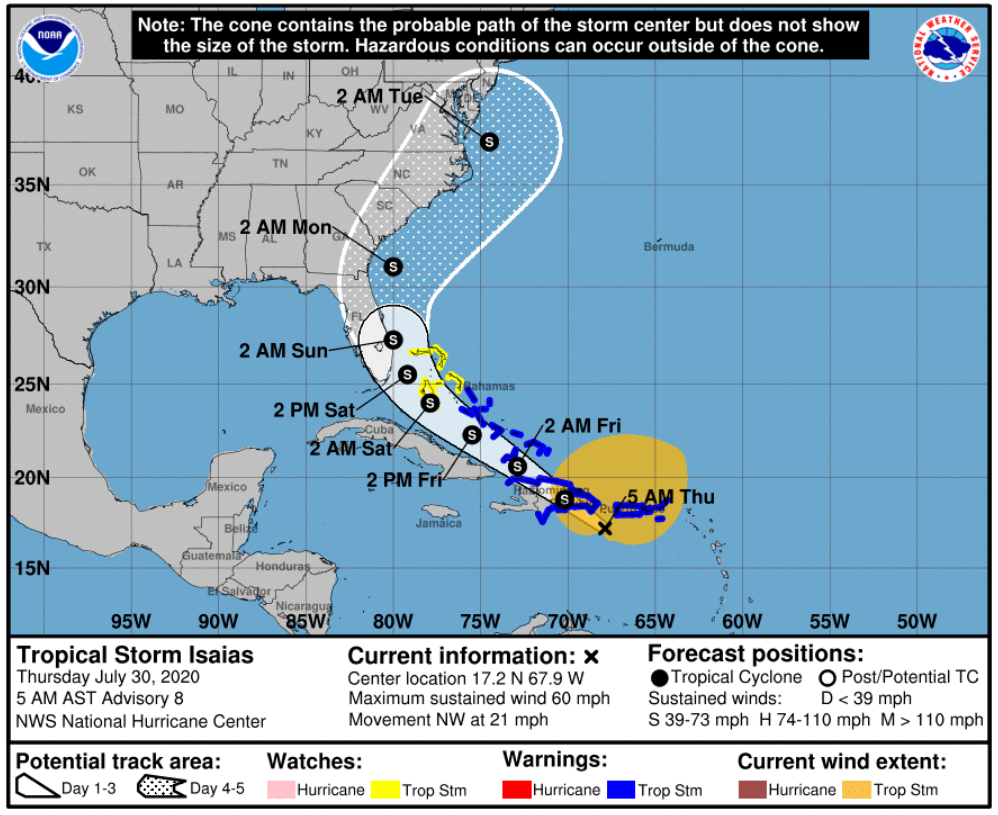 Tropical Storm Isaias strengthens as it hits Puerto Rico; most of Florida in forecast path