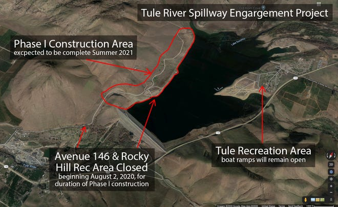 The Rocky Hill Recreation Area off of Avenue 146 will be closed starting Aug. 2 until at least the summer of 2021 while the U.S. Army Corps of Engineers widen the existing Tule River Spillway at Success Lake.