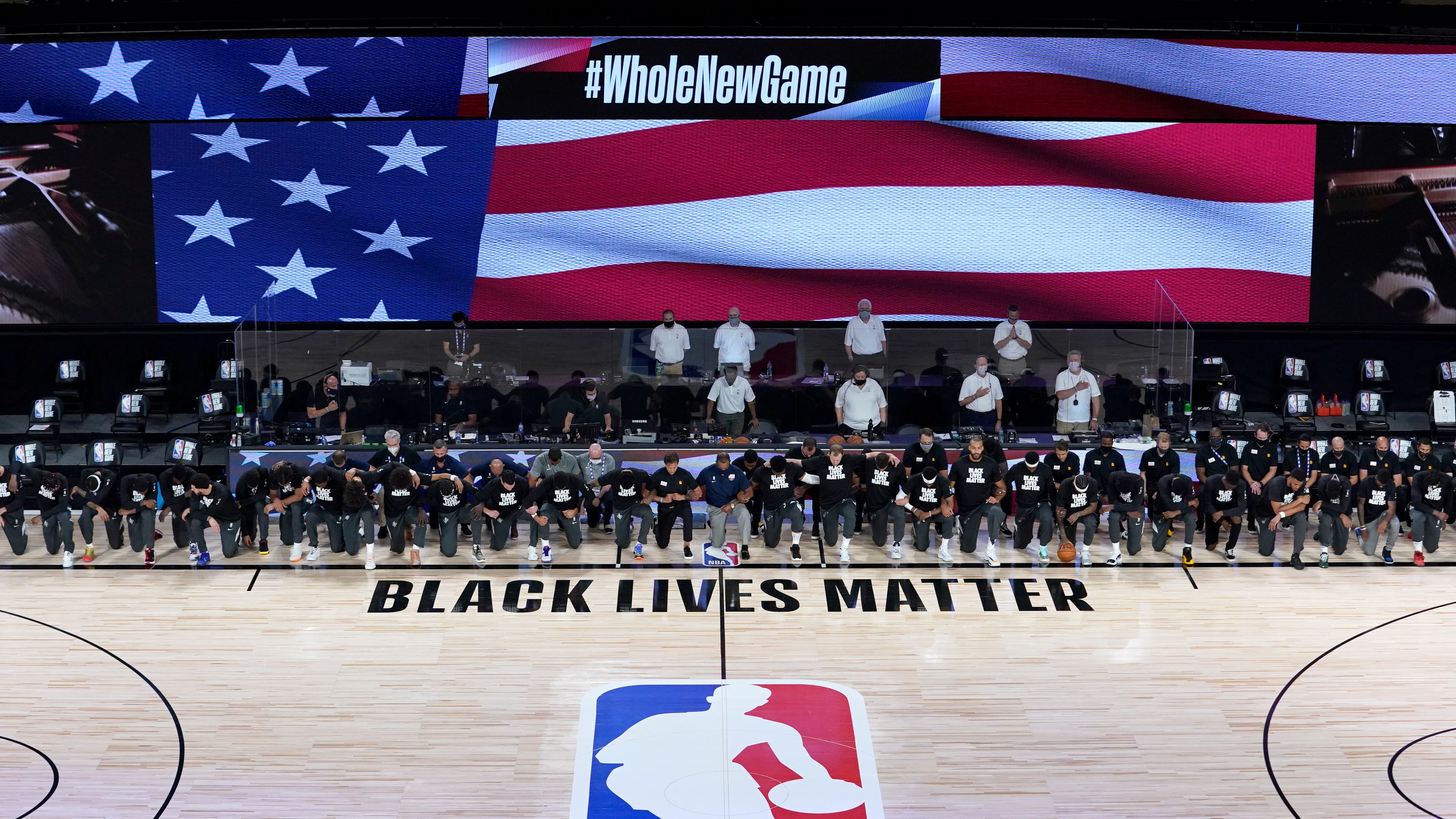 Nba Pelicans Jazz Lakers Clippers Kneel For National Anthem