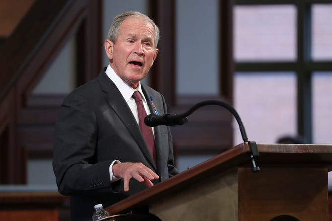 Former President George W. Bush speaks during the funeral service for the late Rep. John Lewis at Ebenezer Baptist Church in Atlanta on July 30. Bush will be the featured speaker at the Jefferson Educational Society's Global Summit XII speaker series in May.