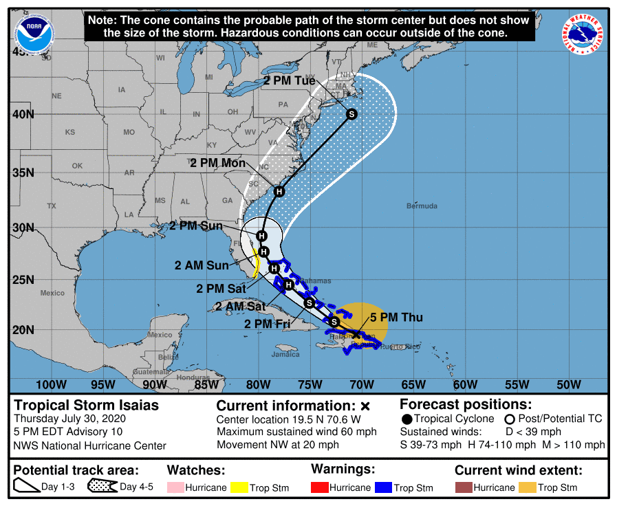 Isaias forecast to become hurricane Friday; Tropical storm watch issued for Florida