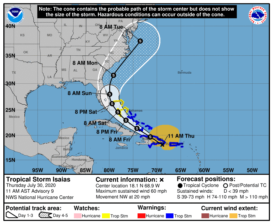 Massive Tropical Storm Isaias may reach parts of Florida by this weekend